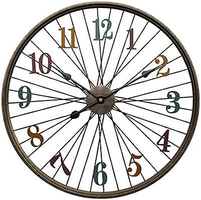 Reloj de pared 24 pulgadas Reloj con pilas No de segunda mano Silencio Ticking Wall Art Decor Para la sala de estar Cocina Bar Dormitorio Retro Ronda Números árabes Marco de metal