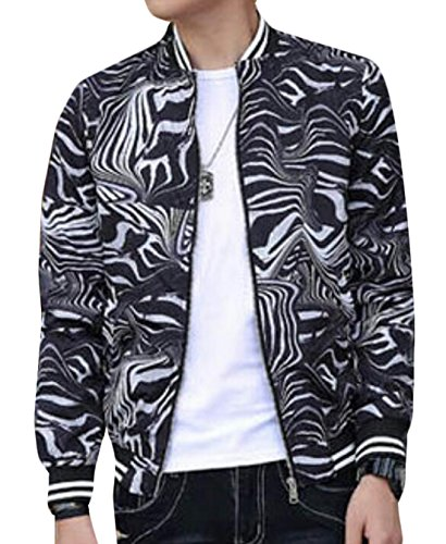 Mens Casual Printed Baseball Bomber