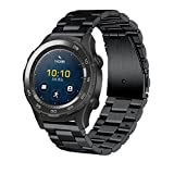 VESNIBA Genuine Stainless Steel Bracelet Smart Watch Band Strap For Huawei Watch 2 (Black)