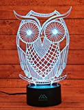 3D Owl Night light Animal 7 Colors Amazing Optical Illusion LED light home decorations produce unique lighting effects…