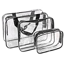 uxcell® 3 Pieces Crystal Clear Portable Travel PVC Cosmetic Bag Makeup Toiletry Wash Bag Holder Pouch Set Black