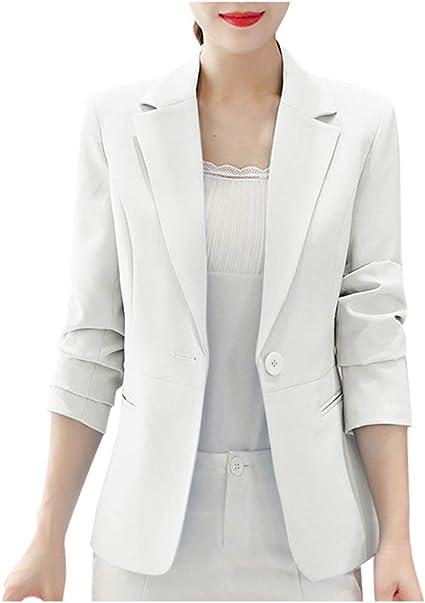 SUDADY - Chaqueta de Mujer Elegante, Blazer para Mujer, Bolero, Chaqueta, Abrigo, Chaqueta, cárdigan, Chaqueta, Camisa, Camisa, Camisa, Sudadera, Camiseta, Smoking Vestido Bianco XL: Amazon.es: Ropa y accesorios
