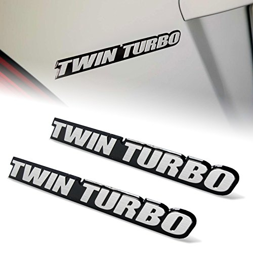 (2pcs(pair) Twin Turbo Aluminum Emblems Badges for Ford Diesel Mustang GT Chevy Camaro Z28 Corvette Z06 Pontiac Trans Am)