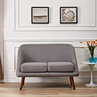 US Pride Furniture Fabric Modern Style Loveseat, Grey