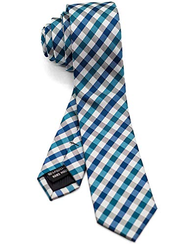 WANDM Men's Slim Skinny Tie Necktie Width 2 inches Washable Gingham Check Plaid Teal Green and ()