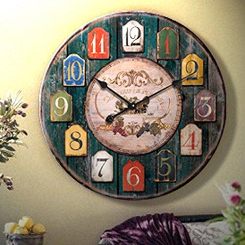 guazzbbia Continental Moda Retro Reloj De Pared Reloj Digital Creative Living Diámetro 34Cm Relojes De Pared: Amazon.es: Hogar