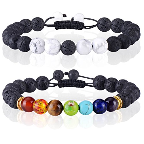 (PAXCOO 8mm Chakra Stone Beads Bracelets Lava Beads Stone for Yoga and Jewelry Making)