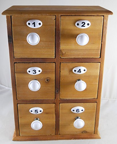 Apothecary Spice Chest ~ Wooden Utility Cabinet 6 Drawers