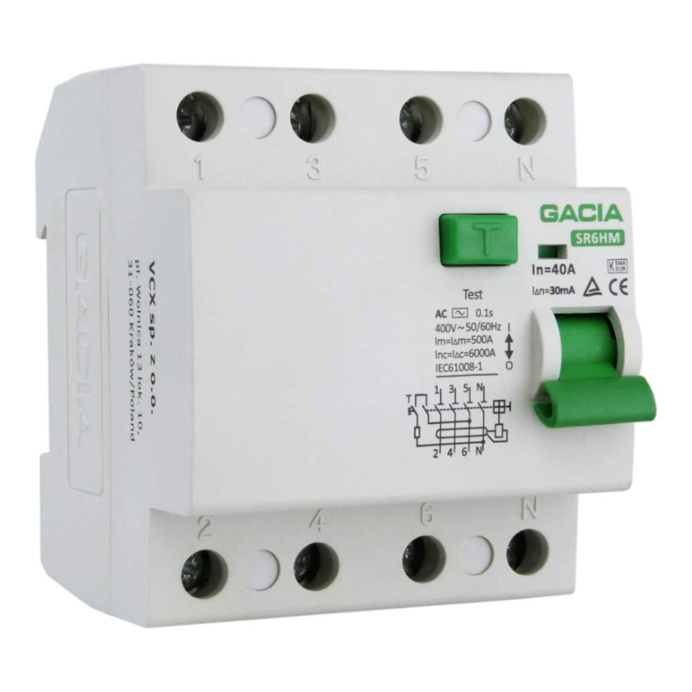 Interrupteur Filament 40A 30mA 4p 6kA type AC FI VCX 6026