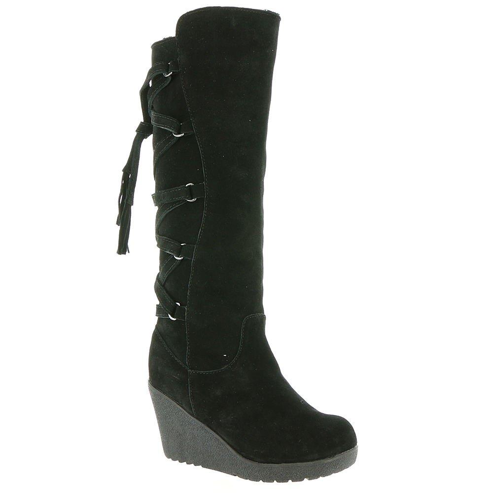 Bearpaw Women's Britney Fashion Boots, Black Cow Suede, Sheepskin Fur, Rubber, 7 M