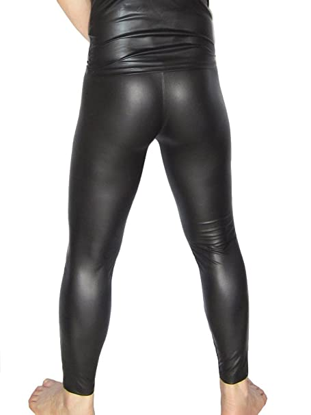 7747b71c182003 Amazon.com: LinvMe Men's Sexy Faux Leather Tights: Clothing