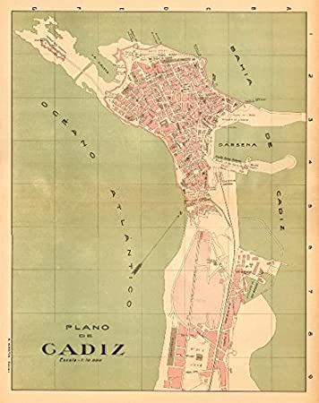 Cadiz. Plano Antiguo de la cuidad. Antiguo Town/City Plan. Martin - c1911 - Mapa Antiguo Vintage - Mapas Impresos de España: Amazon.es: Hogar