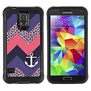 Suave TPU Caso Carcasa de Caucho Funda para Samsung Galaxy S5 SM-G900 / Chevron Purple Sailing Ship / STRONG