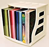 Paper Storage Rack 12x12 Paper Organizer Scrapbook Shelf Ring Binder Stand Lever Arch Cube Catalog/Magazine Holder Vinyl Record Storage Crate LP Album Box Holds Over 75 LPs