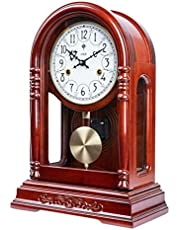 ZHZHUANG Desk Clock Pure Copper Movement Mechanical Watch Table Clock Solid Wood Pendulum Clock Winding Chain Clock Shelf Clock
