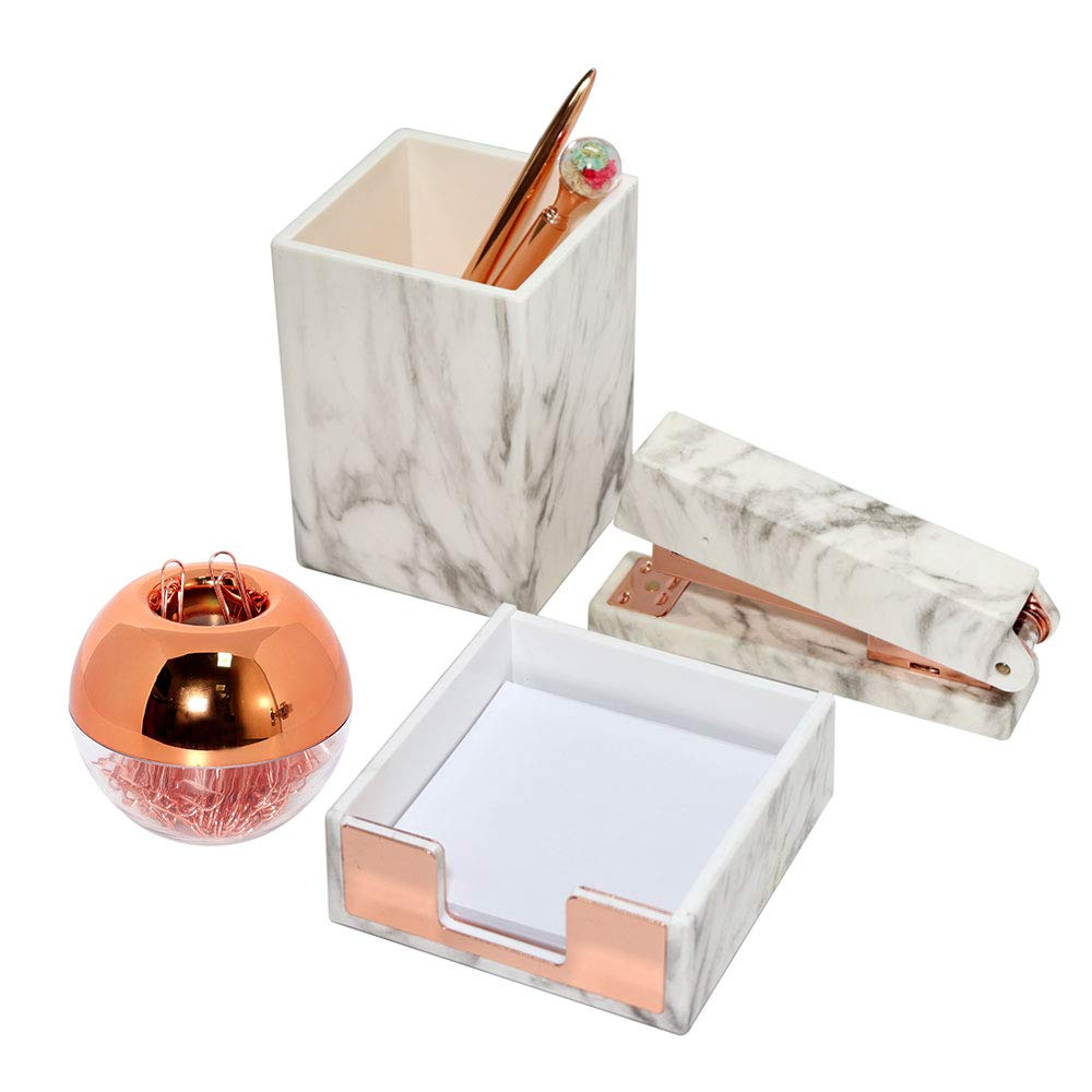 Marble White with Rose Gold Office Supplies Set 4 Packs Office Stationary Kit with Magnetic Paper Clips Staplers Pen Holder Memo Notes Pad Holder for Home and Office by Buqoo