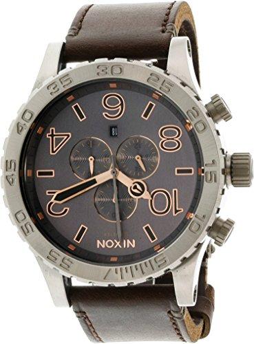 Nixon 51-30 Chrono Leather Watch - Men's Gray/Rose Gold, One Size