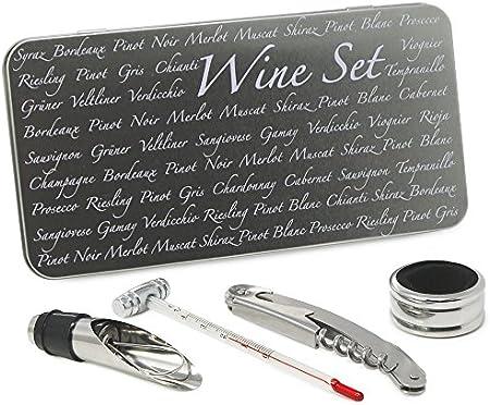 COM-FOUR® Juego de iniciación de sumiller de 4 piezas, juego de regalo en una fina caja de metal para los amantes del vino: abrebotellas con sacacorchos (04 piezas en una caja de regalo)
