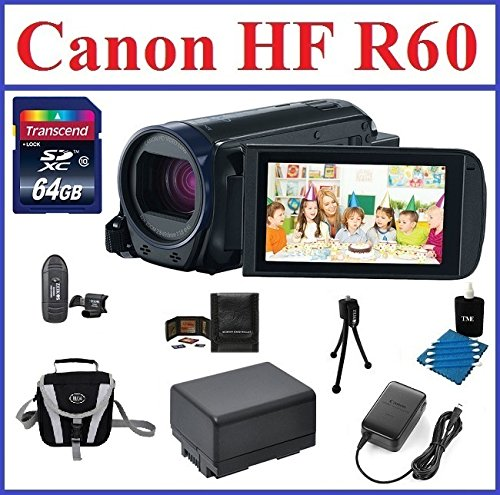 Canon VIXIA HF R60 Full HD Camcorder Bundle, includes: 64GB