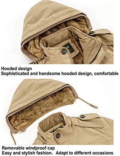 Cotton Army Men's Hooded Body Green Jackets Coat Warmers Long Jacket Windproof Sleeve Windbreaker Winter BESBOMIG qOCZ5ndwq