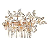 Missgrace Bridal Wedding Flower Vintage Hair Comb Crystal Butterfly Bridal Hair Comb gold wedding hair piece Bridal accessory Gold Wedding Headpiece Crystal Hair Clip Wedding Hair Accessories for Women and Girls