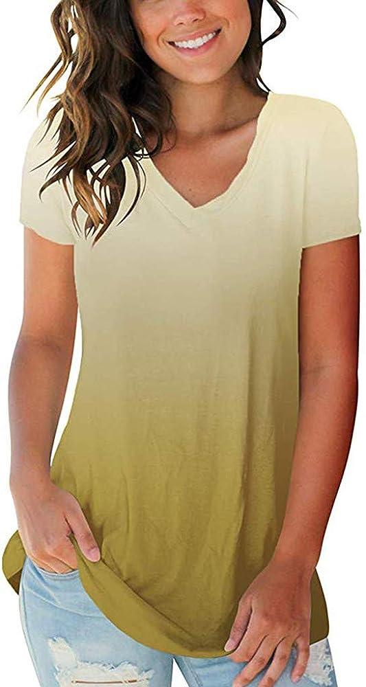 Overdose Camisas para Mujer Ganga Tallas Grandes 5XL Gradient Color Cuello En V Camiseta De Manga Corta Tops Blusa Holgada Venta: Amazon.es: Ropa y accesorios