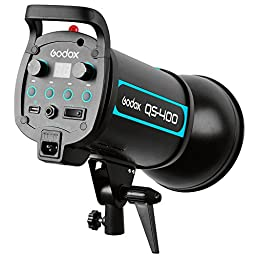 Godox QS Series QS400 400W Strobe Flash Modeling Light for Studio Photography (100V-120V) + CEARI MicroFiber Clean Cloth