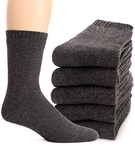 Mens Wool Socks Thermal Heavy Thick Fuzzy Soft Warm Winter Socks 5 Pairs (Grey)