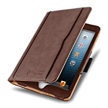 JAMMYLIZARD [ iPad Mini 4, 3, 2, and 1st Generation Case ] The Original Brown & Tan Leather Smart Cover