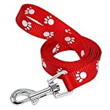 LOVELY Paw Print Dog Puppy Leash Cats Pet Walking Leash Leads Adjustable 3 Colors 3 Sizes Nylon Material Red M