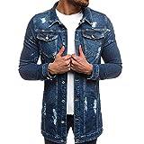 Autumn Winter Long Sleeve Vintage Slim-Fit Demin Jacket Mens' Button Down Top Coat Outwear Motorcycle Jacket (Dark Blue, XXXL)