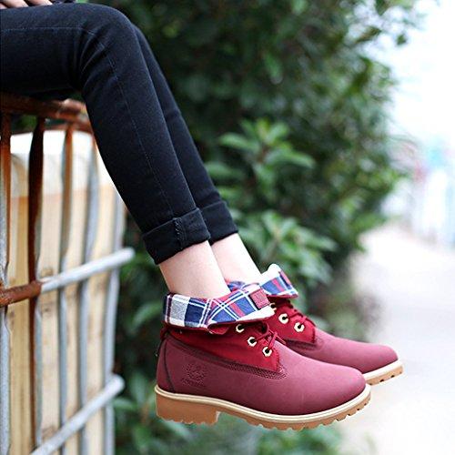 Minetom Mujer Otoño Invierno Zapatos Botines Calentar Botas De Nieve Zapatos Botas de Trabajo Martin Boots Zapatos de Cordones Rojo