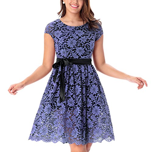 One Sight Women's Vintage Floral Lace Dress Contrast Bow Cocktail Evening Party Dress, Navy Blue - One Sight