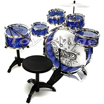 11pc kids boy girl drum set musical instrument toy playset blue toys games. Black Bedroom Furniture Sets. Home Design Ideas
