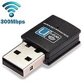 LOTEKOO 300Mbps USB WiFi Adapter, Wireless Lan Network Card Adapter Wifi Dongle for Desktop Laptop PC Windows 10 8 7 MAC OS