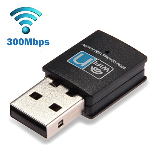 (300Mbps USB WiFi Adapter, LOTEKOO Wireless LAN Network Card Adapter WiFi Dongle for Desktop Laptop PC Windows 10 8 7 XP MAC OS (Plug-and-Play for)