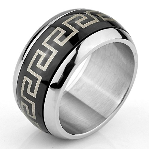 MoAndy Jewelry Mens Large Stainless Steel Ringss Band Silver Black Greek Vintage Polished Size 8 from MoAndy