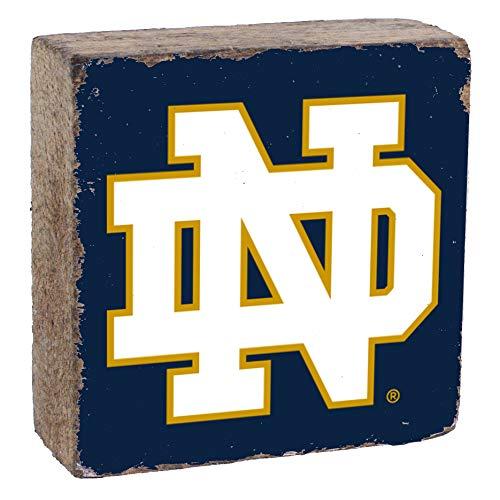 Rustic Marlin Designs NCAA Notre Dame Fighting Irish Unisex Logo Blockdecorative Wooden Sign, Navy, 6