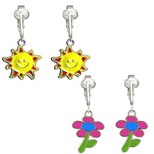 Bright & FunClip On Earrings for Women w Un-pierced Ears, Flowers, Bees, Ladybug, Butterfly Clipon (Sun/Daisy)