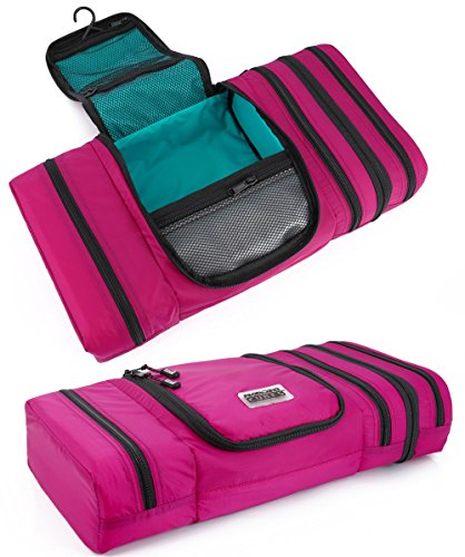 Pro Packing Cubes Travel Toiletry Bag - Packs Flat To Save Space - Waterproof Hanging Toiletries Kit For Men and Women (Large, Pink-Aqua) by Pro Packing Cubes