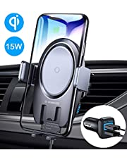 VANMASS Wireless Car Charger, 15W Qi Fast Charging Auto-Clamping Car Mount, Air Vent Phone Holder Compatible with iPhone 11/11 Pro/Pro Max/XS MAX/XS/XR/X/8, Samsung Note 10/S10/S9/S8/S7, Pixel/LG