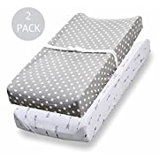 Changing Pad Cover, 2 Pack, 100% Jersey Cotton Unisex Sheets for Baby Girl and Boy, Grey Arrows and Polka Dots by Consciously