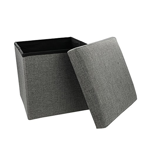 Table Cubes Cocktail Storage - Eagrye Storage Ottoman Cube, Collapsible Foldable Seat Foot Rest Coffee Table Cube with Lift Top (grey)
