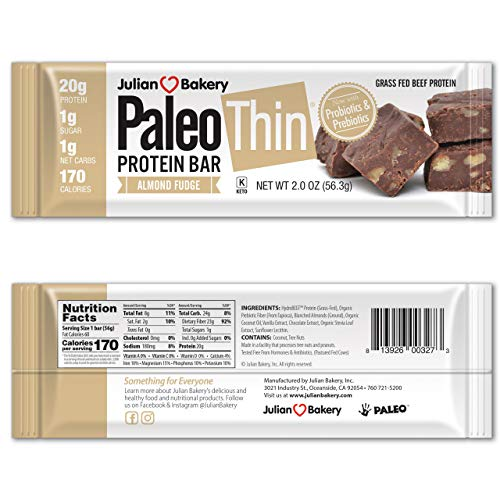 Paleo Thin® 20g Protein Bars (Almond Fudge)(Grass-Fed Beef)(1 Net Carb)(1g Sugar) (12 Bars)