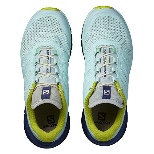 Salomon Womens Sense Pro Max Shoes & Quicklace Bundle Fair Aqua / Crown Blue / Zolfo Spring
