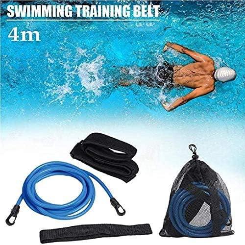 DUWIN Swim Training Belts, 4M Swim Trainer Leash Tether Stationary Swimming, Swim Harness Static Swimming Belt, Swim Bungee Cords Resistance Bands Elastic Rope