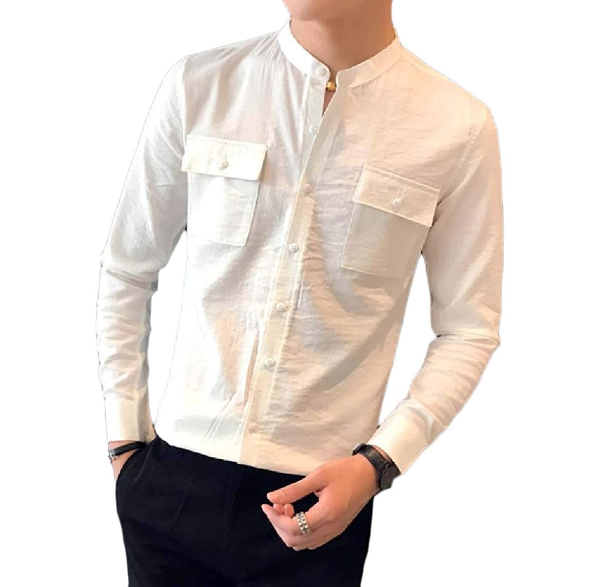 Andopa Mens Relaxed-Fit Pockets Long Sleeve Slim Fit Stand Collar Shirts