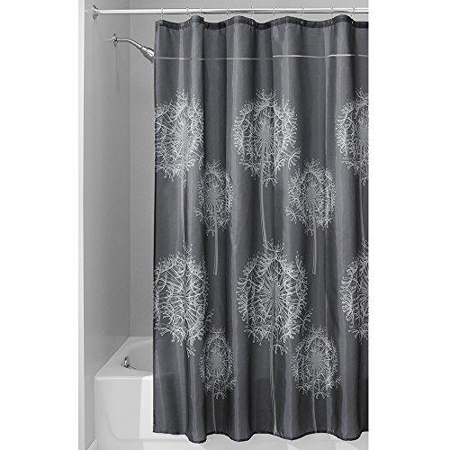 InterDesign Dandelion Shower Curtain, 72 x 84-Inch, Charcoal