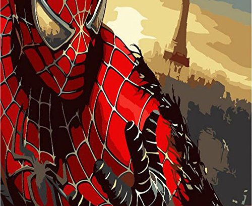 E-onelife Diy Oil Painting, Paint By Number Kits For Children, Spider Man Diy Digital Oil Painting Without Wooden Frame