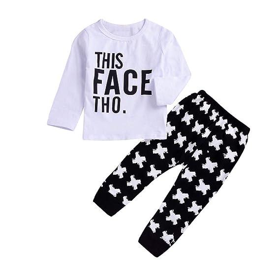 Sencillo Vida Conjuntos Bebé Niño Otoño Camiseta Tops y Pantalones ...